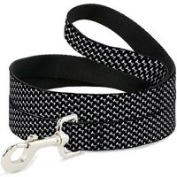 "1"" LEASH 6' BLACK/WHITE BONES"